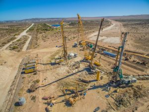 The piles were installed using some of the largest equipment in Stefanutti Stocks Geotechnical's fleet, which can be seen here on site.